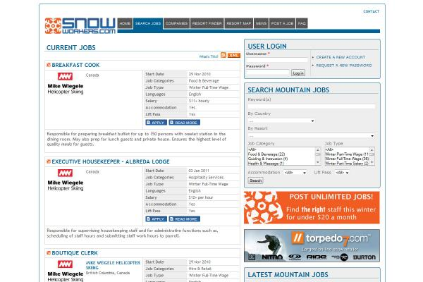 Snowworkers job listings